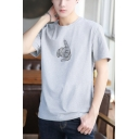 Hot Fashion Cool Hand Printed Round Neck Short Sleeve Cotton Basic T-Shirt
