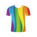 Summer New Fancy Colorblock Wave 3D Printed Basic Round Neck Short Sleeve Tee