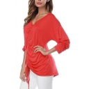 Womens New Trendy Basic Solid Color V-Neck Long Sleeve Drawstring Front Casual Tee