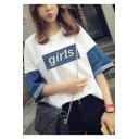 Simple Letter GIRLS Chic Denim Patched Sleeve Casual Loose Summer Tee