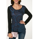 Womens New Trendy Black Pattern Round Neck Long Sleeve Slim Fit T-Shirt