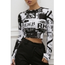 Cool Streetwear Black and White Letter Graffiti Printed Round Neck Long Sleeve Slim Fit Cropped T-Shirt