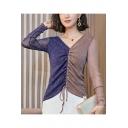 Womens New Trendy Colorblock V-Neck Long Sleeve Drawstring Front Glitter Mesh T-Shirt