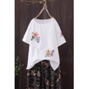 Summer Vintage Cartoon Floral Embroidery Round Neck Relaxed Linen T-Shirt