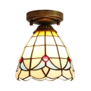 1 Light Cone Flush Light Tiffany Style Rustic Stained Glass Ceiling Lamp for Hallway