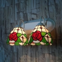 Vintage Style Flower Sconce Light 2 Lights Stained Glass Wall Light for Living Room Foyer