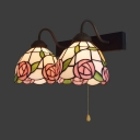 Stair Foyer Pink Rose Wall Lamp Stained Glass 2 Lights Vintage Style Sconce Light with Pull Chain