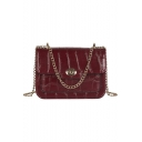 Trendy Crocodile Pattern Crossbody Bag with Chain Strap 20*7*14 CM