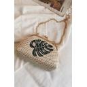 Summer Fashion Leaf Embroidery Pattern Khaki Straw Crossbody Clutch Bag 20*9*15 CM