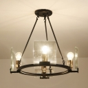 Bedroom Foyer Ring Chandelier Metal 4/8/10 Lights Traditional Black Hanging Light with Clear Crystal