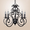 Colonial Style Candle Hanging Light 5/6 Lights Metal Chandelier in Black for Dining Room