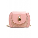 Trendy Plain Metalwork Embellishment Sequined Long Chain Strap Crossbody Bag 20*8*15 CM
