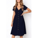 Women's Summer Chic Elegant V-Neck Short Sleeve Button Front Plain Midi A-Line Dress