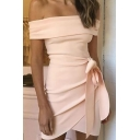 Womens Stylish Plain Printed Off The Shoulder Bow-Tied Waist Asymmetric Hem Mini Bandeau Dress