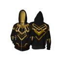 Trendy Comic Cosplay 3D Printing Long Sleeve Zip Up Sport Black Hoodie