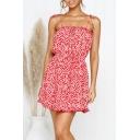 Women's Hot Fashion Floral Print Tie Shoulder V-Neck Sleeveless Backless Mini Cami Dress