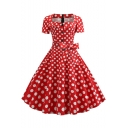 Women's Summer Fashion Short Sleeve Square Neck Polka Dot Print Button Detail Bow-Tied Waist Swing Dress