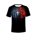 Cool 3D Blue and Red Spider Far From Home Basic Black Tee
