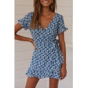 New Stylish Floral Print V-Neck Ruffle Short Sleeve Bow-Tied Waist Cut Out Back Mini A-Line Blue Dress