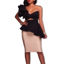 Women's Ruffle Cut Out One Shoulder Back Zipper Midi Wrap Dress