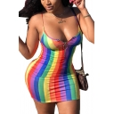 Summer Color Block Rainbow Stripe Sleeveless Zip Mini Bodycon Cami Dress