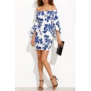 Women's Off Shoulder Flare Sleeve Blue and White Leaf Printed Back Zip Mini Sheath Dress