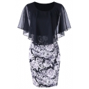 Trendy Floral Print Chiffon Patch Short Sleeve Ruffles Round Neck Midi Dress