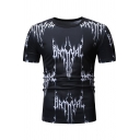 Men's Casual Print Round Neck Short Sleeve Black Slim T-shirt
