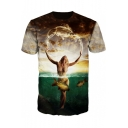 New Trendy 3D Woman and Fish Pattern Short Sleeve Tee