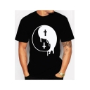 Men's New Personalised Eight Trigrams Print Round Neck Short Sleeve Black Fitted T-Shirt