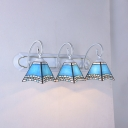 Mediterranean Style Tapered Wall Light 3 Lights Stained Glass Sconce Light in Blue for Foyer