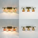 Flower/Fruit Hotel Sconce Light Stained Glass 3 Lights Rustic Style Wall Light