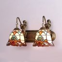 Bell Dining Room Sconce Light Stained Glass 2 Lights Tiffany Style Baroque Wall Lamp with Mermaid