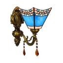 Mediterranean Style Cone Wall Light Stained Glass 1 Light Blue Wall Lamp with Crystal for Hallway