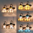 Tiffany Style Wall Light Dome Shade 2 Lights Stained Glass Wall Lamp for Living Room Kitchen