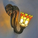 Stained Glass Bell Wall Light with Elephant Bedroom 1 Light Tiffany Style Rustic Sconce Light