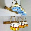 Tiffany Style Dome Sconce Light Stained Glass 3 Lights Blue/Yellow Wall Light for Dining Room