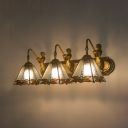 Dragonfly Living Room Wall Light Stained Glass 3 Lights Antique Style Sconce Light with Mermaid