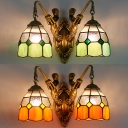 Dome Dining Room Sconce Light Stained Glass 2 Lights Vintage Style Wall Light in Green/Orange
