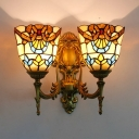 Bell Shade Wall Light 2 Lights Tiffany Style Stained Glass Sconce Light for Living Room Hotel