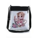Cute Cartoon Cat Floral Painted White Canvas Shoulder Messenger Bag 22.5*27 CM