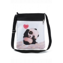 Cute Cartoon Panda Painted Black and White Canvas Shoulder Messenger Bag 22.5*27 CM
