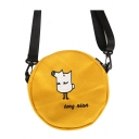Cute Cartoon Letter Embroidery Pattern Canvas Round Cross Shoulder Bag 17*4*17 CM