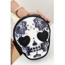 New Fashion Skull Floral Printed White Crossbody Cell Phone Purse 10*6*20 CM