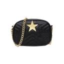 Fashion Star Decoration PU Leather Quilted Crossbody Bag Handbag 21*6*15 CM