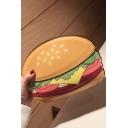 Funny Creative Hamburger Pattern Yellow Crossbody Bag with Chain Strap 10*5*12 CM