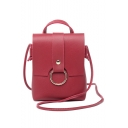 Stylish Plain Metal Ring Embellishment Crossbody Phone Purse with Long Strap 14*6*17 CM