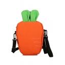 Cute Cartoon Carrot Shape Canvas Crossbody Shoulder Bag 12.5*5.5*22 CM