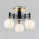 Globe Shade Semi Flush Ceiling Light 3/5/6 Lights Contemporary Ceiling Lamp in Black for Kitchen