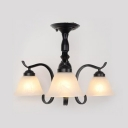 3/5 Lights Bell Semi Flush Mount Light American Rustic Frosted Glass Light Fixture in Black for Bedroom